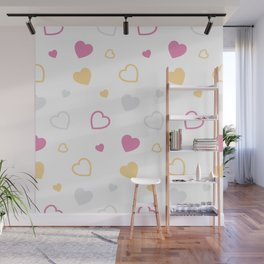 Stylized hearts pattern Wall Mural