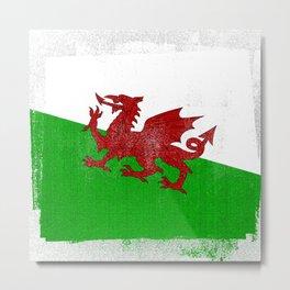 Welsh Distressed Halftone Denim Flag Metal Print