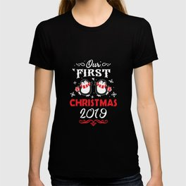 Thrilling newlywed Our First Christmas 2019 lovers Tee T-shirt