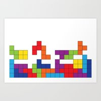 tetris Art Prints featuring Tetris by Jennifer Agu