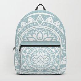 Duck Egg Blue & White Patterned Flower Mandala Backpack