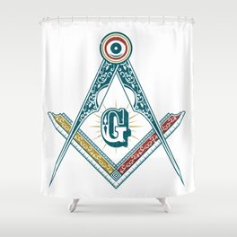 Square and Compass - freemasonry Shower Curtain