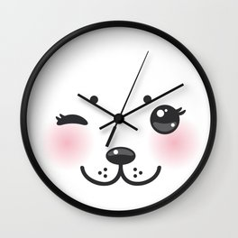 Kawaii funny albino animal white muzzle with pink cheeks and winking eyes Wall Clock