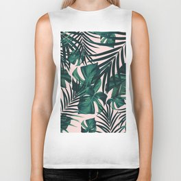 Tropical Jungle Leaves Pattern #5 #tropical #decor #art #society6 Biker Tank
