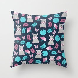 Cute Pink Teal Hippo Floral Butterfly Lily Pad Throw Pillow