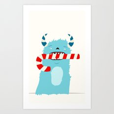 December Monsters: Candy Cane Art Print