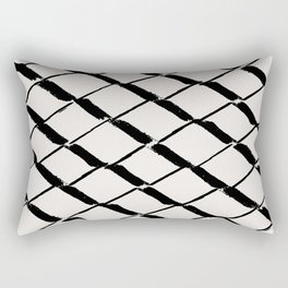 Modern Diamond Lattice Black on Light Gray Rectangular Pillow