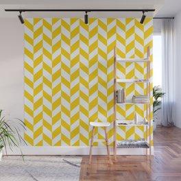 Herringbone Texture (Yellow & White) Wall Mural