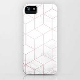 Rose Gold Geometric White Mable Cubes iPhone Case