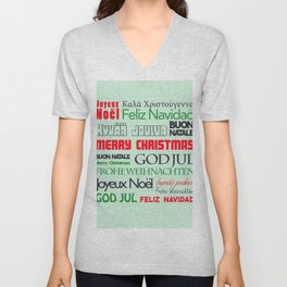 different languages III merry christmas Unisex V-Neck