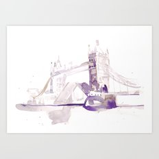 Watercolor landscape illustration_London Bridge Art Print