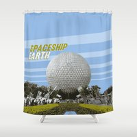 spaceship Shower Curtains featuring spaceship earth by studiomarshallarts