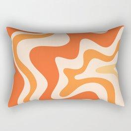 Tangerine Liquid Swirl Retro Abstract Pattern Rectangular Pillow