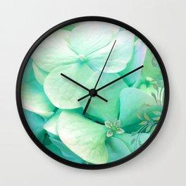 Mint Hydrangea floral art Wall Clock