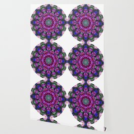 Floral finery - kaleidoscope of blue, plum, rose and green 1650 Wallpaper