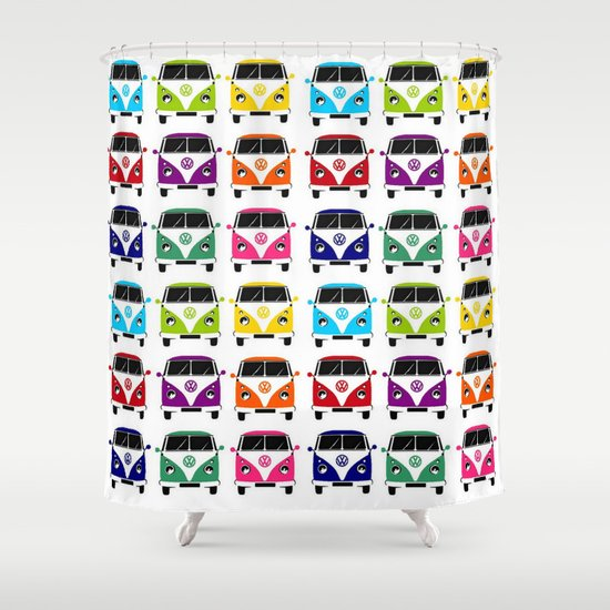 VW Campervan Shower Curtain by Chauloom | Society6