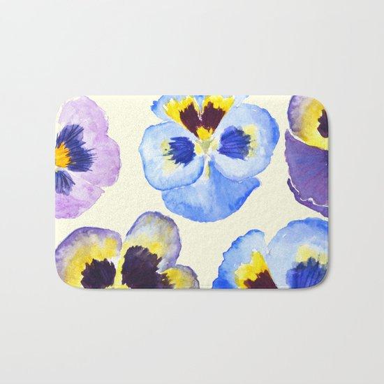 pansies pattern watercolor painting Bath Mat