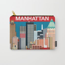 Manhattan, New York - Skyline Illustration by Loose Petals Carry-All Pouch