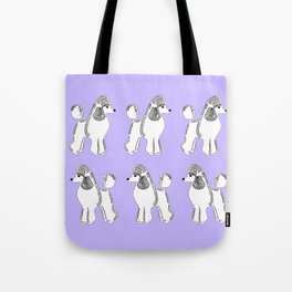 White Standard Poodles with Lavender Tote Bag