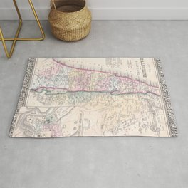 Old 1864 Historic State of Palestine Map Rug