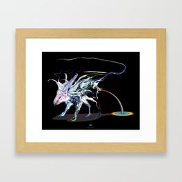 Rat and rainbow. multicolored on dark background - (Red eyes series) Framed Art Print
