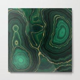 Green Malachite Emerald Marble Texture Metal Print