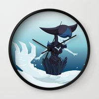 league of legends Wall Clocks featuring Lissandra - League of Legends by Sandy Tang