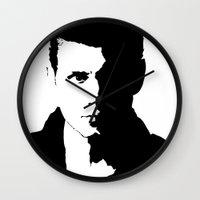 dean winchester Wall Clocks featuring Dean Winchester by redheadedwalker