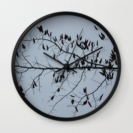Bare branches silhouette in November Wall Clock