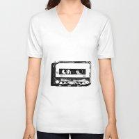 cassette V-neck T-shirts featuring cassette by Gabriel