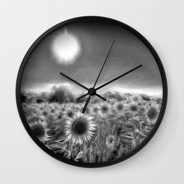 Monochrome Moonlight Sunflowers Wall Clock