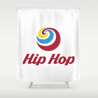 hip hop Shower Curtains featuring Hip Hop Ice Cream by Johnny Haru