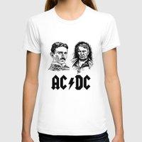 acdc T-shirts featuring AC-DC Nikolas TESLA Thomas Edison by nicksoulart