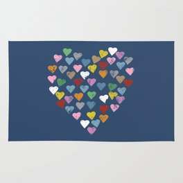 Distressed Hearts Heart Navy Rug