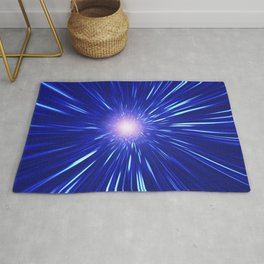 Glowing purple shpere with rays of light Rug