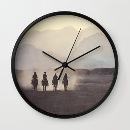 Desert Landscape With Horses Wall Clock
