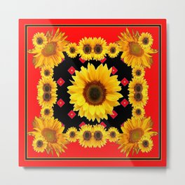 Red Western Yellow Sunflowers Art Metal Print
