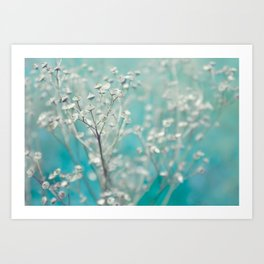 Ice blue - floral Art Print