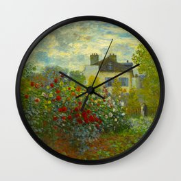 Claude Monet Impressionist Landscape Oil Painting A Corner of the Garden with Dahliass Wall Clock