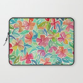 Tropical Floral Watercolor Painting Laptop Sleeve