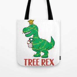 Cute Tree Rex Christmas Tree Dinosaur Holiday T-Shirt Tote Bag