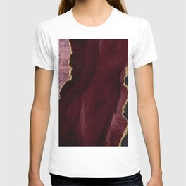 Agate, Burgundy Pink Faux Gold T-shirt