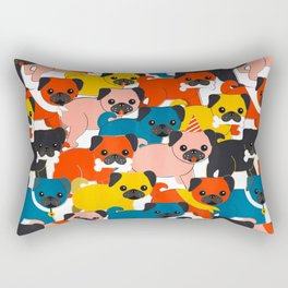 COLORED PUGS PATTERN no2 Rectangular Pillow