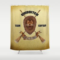 quidditch Shower Curtains featuring Gryffindor Quidditch Team Captain by JanaProject