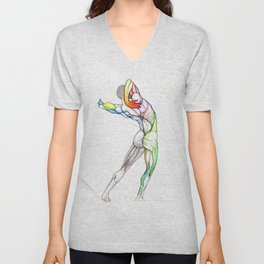 The Grand, nude male anatomy, NYC artist Unisex V-Neck