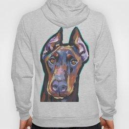 Fun Doberman Pinscher Dog Portrait bright colorful Pop Art by LEA Hoody