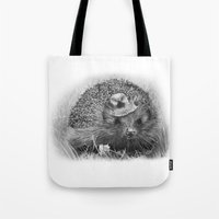 hedgehog Tote Bags featuring Hedgehog by MARIA BOZINA - PRINT