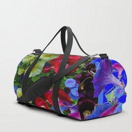 HOLLYHOCKS & MORNING GLORIES COTTAGE BLUE ART Duffle Bag