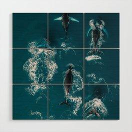 Humpback whales in the arctic ocean - Wildlife Aerial Wood Wall Art