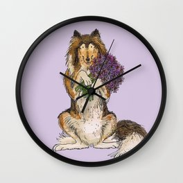 Collie with Flowers Wall Clock